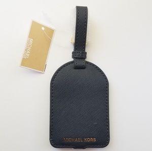 Michael Kors Charms Leather Luggage Tag Black NEW